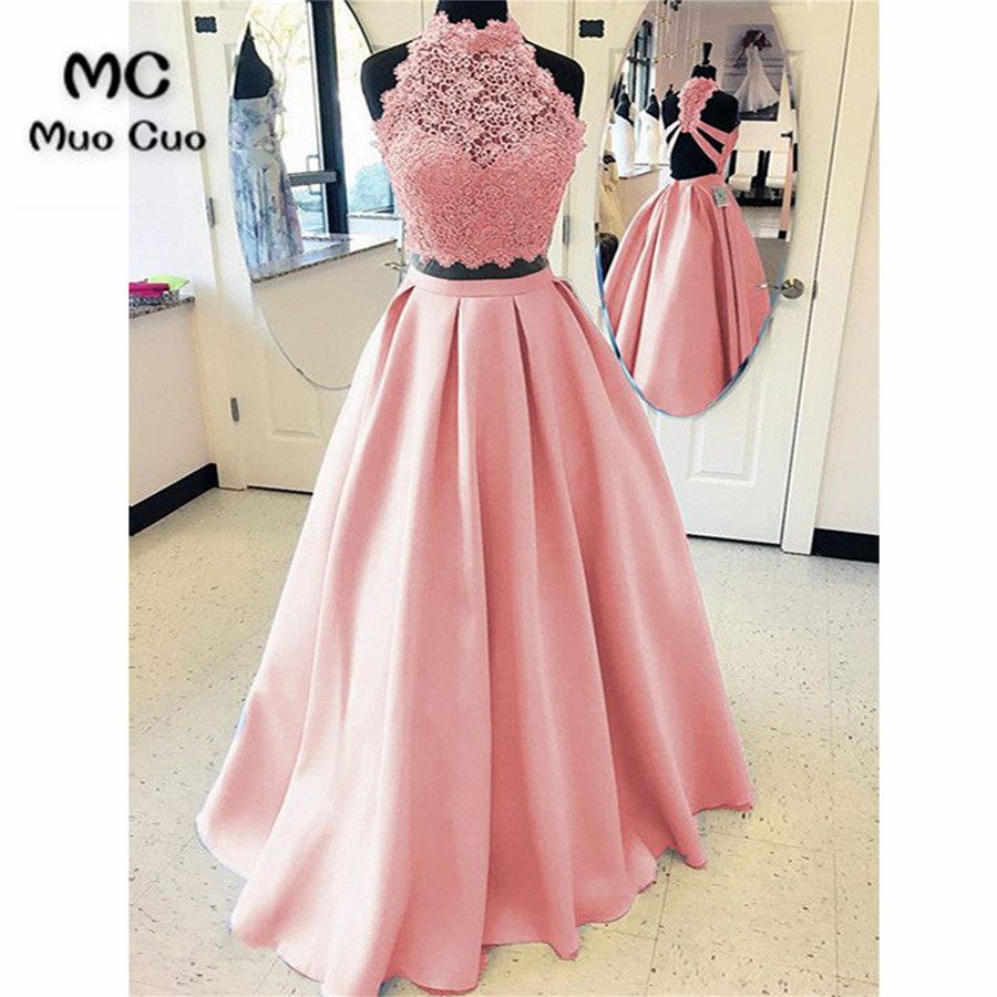 Us 11696 14 Offelegant 2018 Blush Pink Prom Dresses Long Two Pieces Gown A Line Gown Vestido Longo Satin Formal Evening Party Dress In Evening
