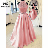 Elegant 2018 Blush Pink Prom Dresses Long Two Pieces Gown A Line Gown Vestido Longo Satin Formal Evening Party Dress