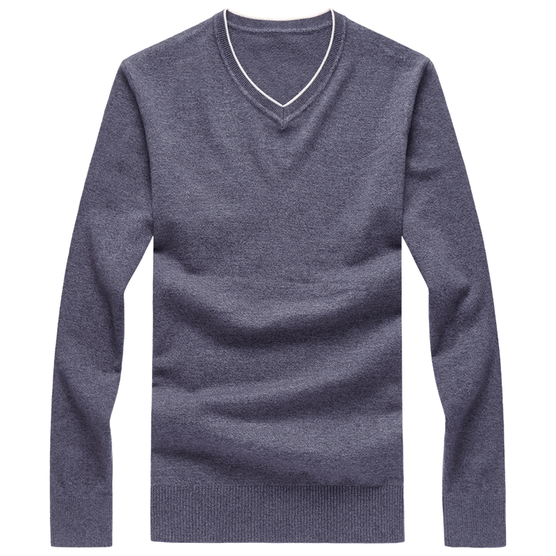 2019 V-collar Sweaters Stylish Knitted Long Sleeve Men Sweater Male Solid Bottoming Sweaters Pullover High Quality Tops 7XL