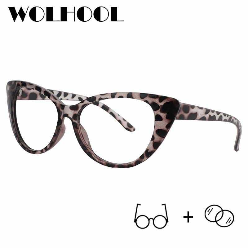816bc7b8442 Fashion Cat Eye Shaped Women Prescription Glasses Men Leopard Fake  Sunglasses Myopia Eyeglasses Clear Plastic Frame