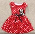 2016 nuevas muchachas del verano vestido de princesa tutú del bebé Mickey Minnie Mouse vestido de punto bebé ocasional Paty vestido por 2-6 años vestido de niño