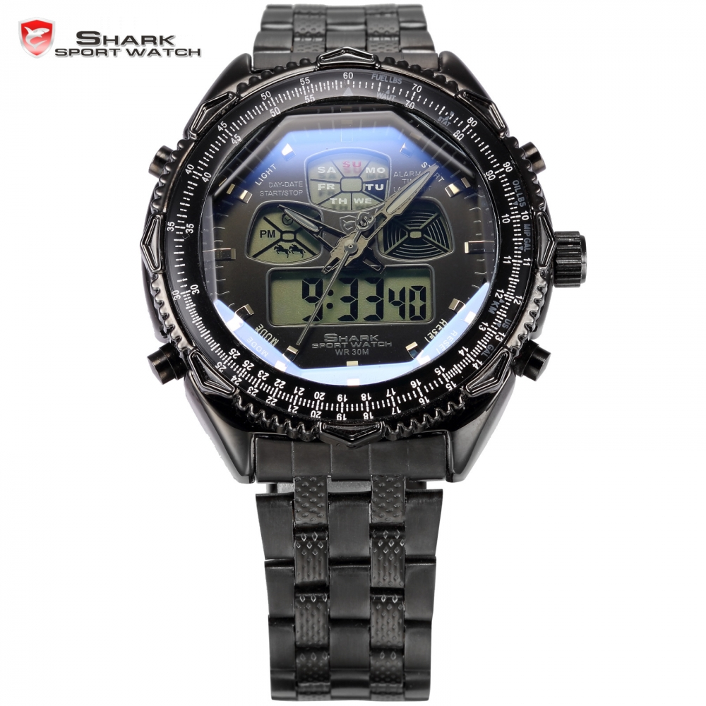 Brand Shark Sport Watch LCD Dual Time Chronograph Alarm Date Day Stainless Steel Strap Relogio Men Digital Quartz Watch / SH308 splendid brand new boys girls students time clock electronic digital lcd wrist sport watch