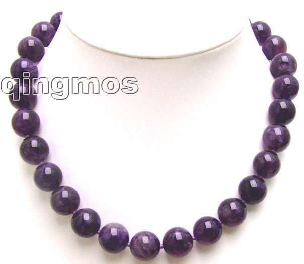 """SALE Big 12mm purple high quality Round natural Amethyst 18"""" necklace-nec5a537_12 Wholesale/retail Free shipping"""