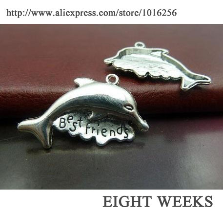 Jewelry Accessories DIY Manual Alloy Necklace Pendant Charms Dolphins 24 32 Mm
