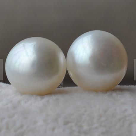 Elegant 100% Genuine Freshwater Pearl Stud Earrings For Women,AAA 11 12MM Huge Pearl 925 Silver Jewellery