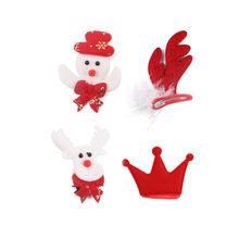 4pcs Christmas Alligator Snowman Deer Antler Crown Hair Clip for Children Holiday Hair Accessories (Mixed Color)(China)