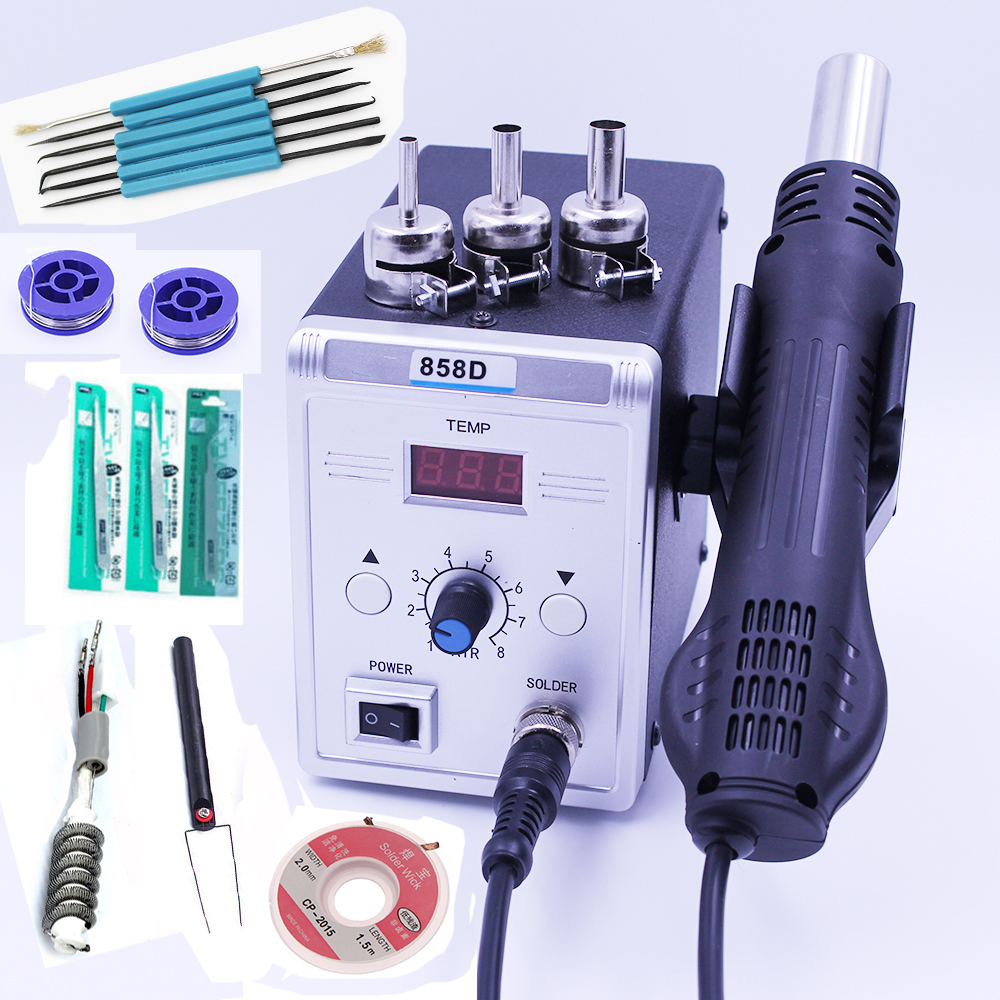 Hot Air Gun 858D 700W BGA Rework Solder Station Soldering Heat Air Gun Station 220V / 110V For SMD SMT Welding Repair With Gifts bg removable bga rework solder lcd digital hot air gun heat gun welding toolsa rework station 220v portable