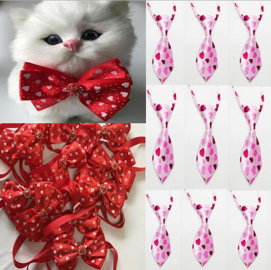 100pc lot Valentine s day Dog Ties Pet Cat bowtie Neckties Accessories Holiday Grooming products