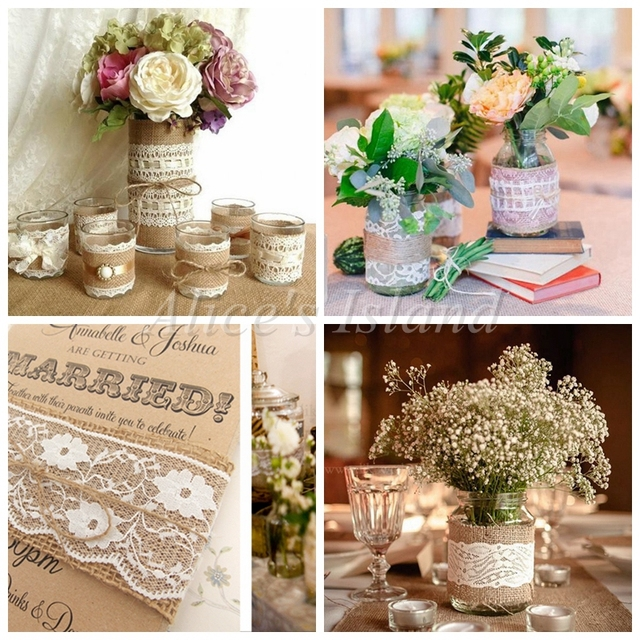Vintage Wedding Centerpieces Ideas: 200cm/roll Jute Burlap Hessian Ribbon With Lace