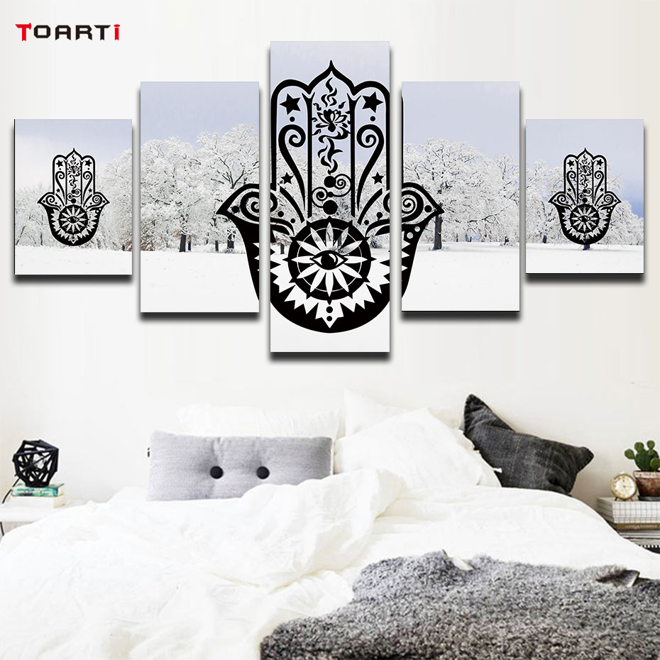 Modular mandala pictures art murals 5 Pieces paintings for living room snow background islamic muslim arabic wall poster &prints