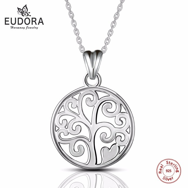 Eudora 925 sterling-silver-jewely Tree of Life Pendant Necklaces for Women Fine Jewelry collares forever love Best Gift