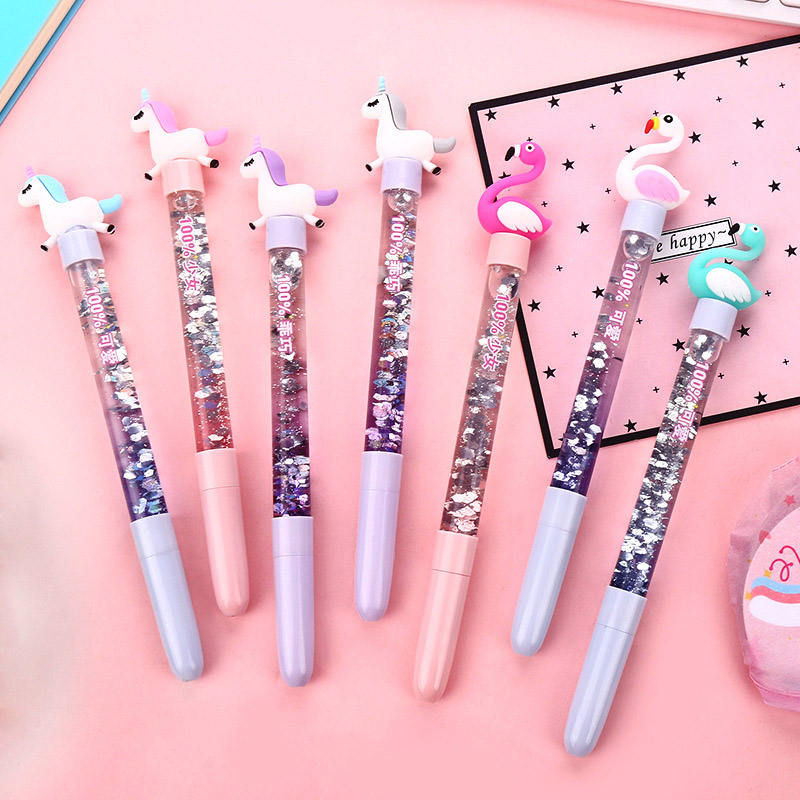 1PC Cute Unicorn Flamingo Pen Kawaii Neutral Pens Giltter Gel Pens For Kids Girls Gift School Office Supplies Novelty Stationery