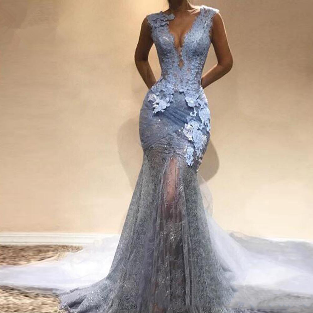 New Arrival Dusty Blue Lace long Mermaid   Prom     Dresses   2019 Sexy   Prom   Gowns Formal Evening Party   Dress   V-neck Vestido De Festa