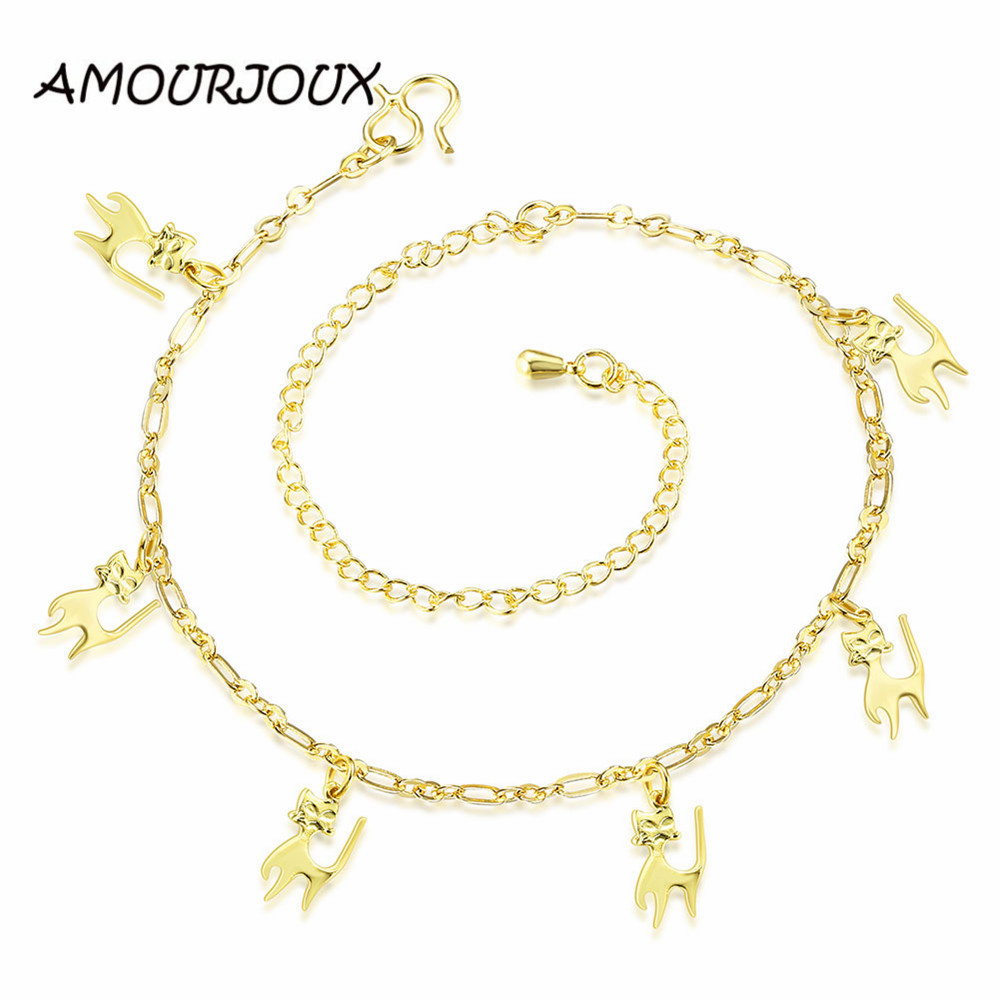 Amourjoux Brand Foot Jewelry Gold Color Anklets For Women Cat Pendants  Charms Ankle Bracelet Summer Style