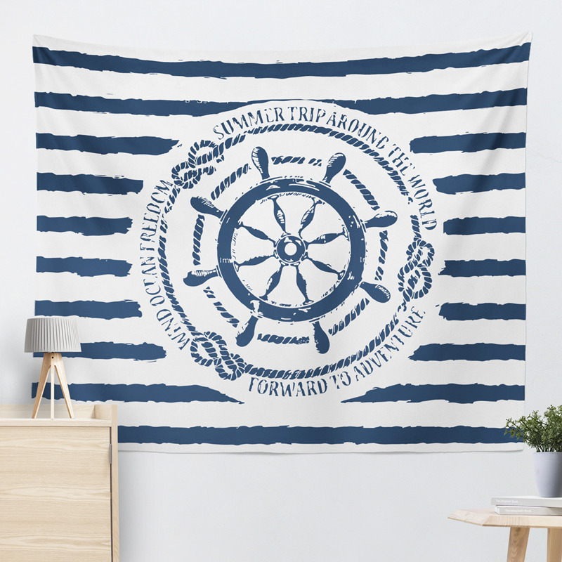 Mediterranea Marine Blue Sea Anchor Wall Tapestry Sea Print Home Decorative Tapete Bedroom Blanket Table Cloth 2 Size