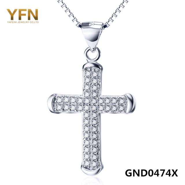 GND0474X Genuino 925 Collar de Plata de ley 2016 Mujeres Joyería CZ Crystal Cross Pendant Necklace Recuerdos Regalos