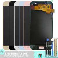 A520 LCD For Samsung Galaxy A5 2017 A520 A520F SM A520F Touch Screen Digitizer Assembly with Speaker Anti Dust Net
