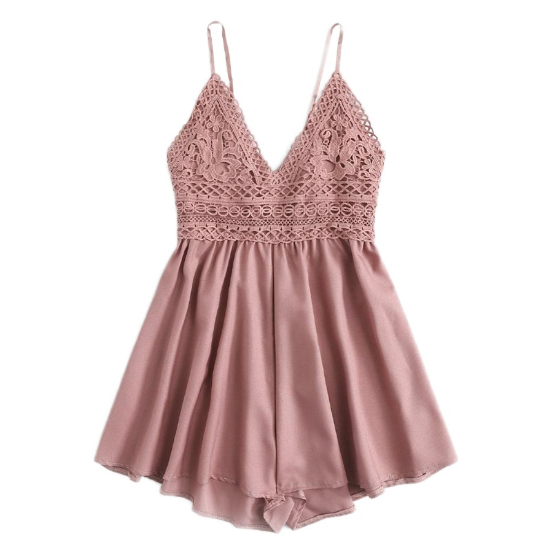 fb55691b0 ROMWE Contrast Lace Knot Back Cami Romper Women Pink V Neck Straps  Sleeveless Playsuit Summer Casual