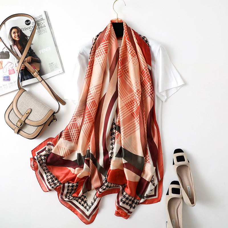 90 180cm Fashion Scarf Women Newest Plaid Design Female Silk Scarfs High Quality Shawl and Wrap in Women 39 s Scarves from Apparel Accessories