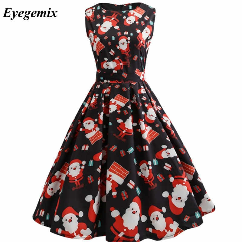 0a933cdd9b ... New Arrival 2019 Fashion Elegant Women Clothing Casual Christmas Print  Dresses A-Line 50S 60S ...