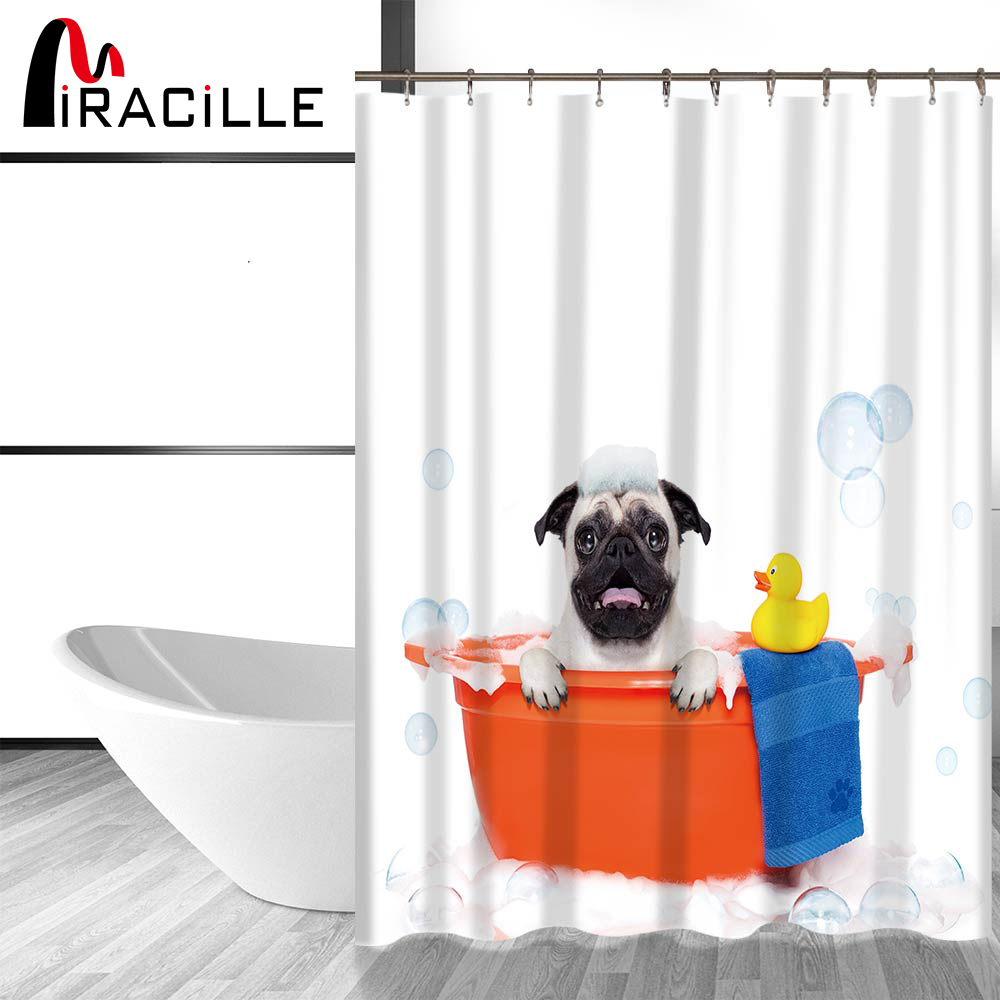 Miracille Cute Dog and Cat Printing Bathroom Decorative Shower Curtain Waterproof Fabric Home Bath Curtains With 12 Hooks