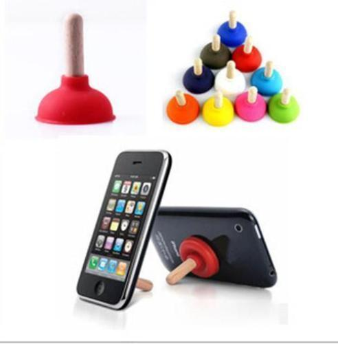 6pcs/ser Mini Plunger Holders Sucker Stand For Cell Phone PSP Toilet Shape Phone Sucker Holder(Random Color Sent) 2