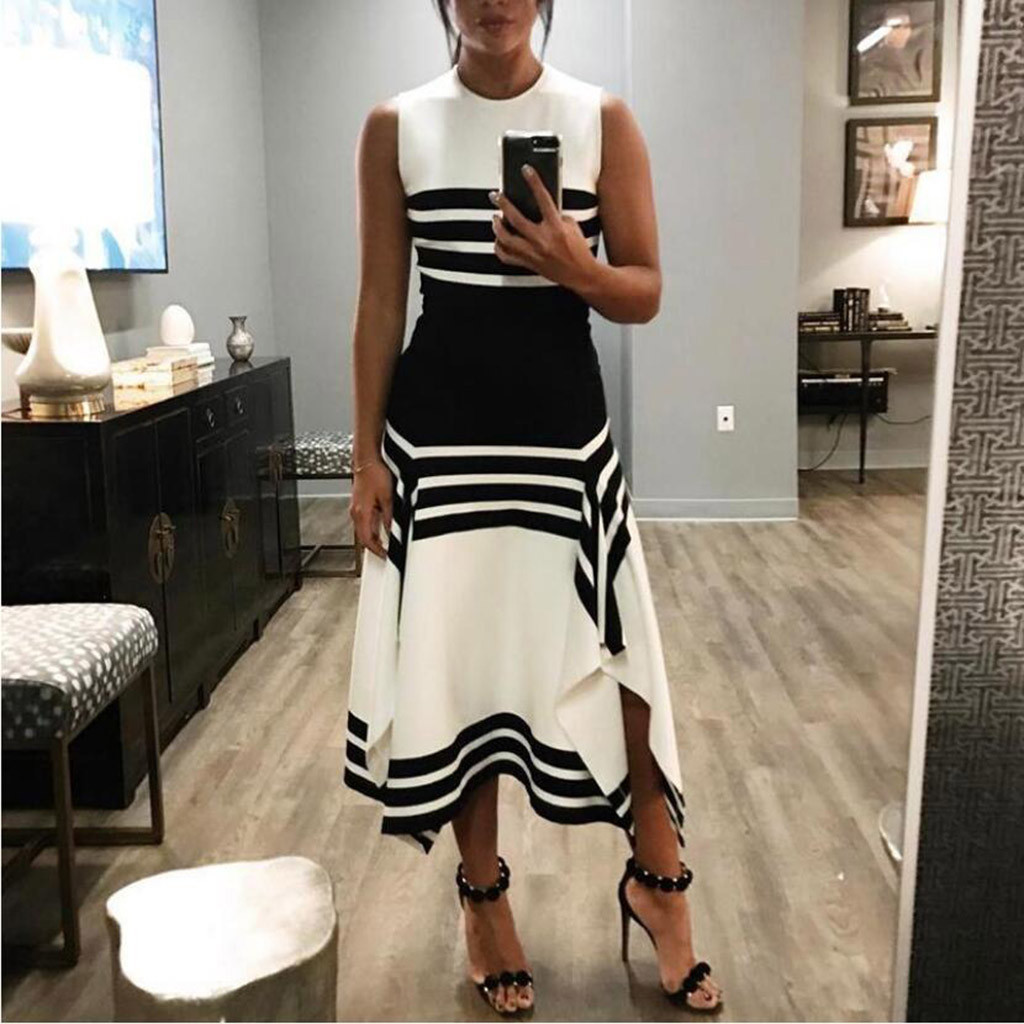 elegant Striped Summer Dress Women 2019 Casual Patchwork Dress Sexy Long Party Dress Black White Vestidos ukraine Plus Size #3 Платье