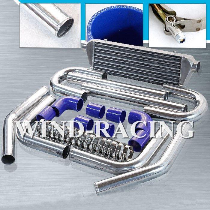 Turbo Kit Universal piping 2.5'' 500mm length Aluminum Pipings+ Blue Silicone Hoses + T-Bolt Clamps NOT INCLUDE INTERCOOLER