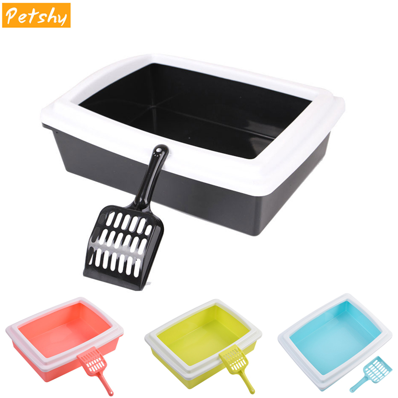 Petshy Cat Bedpans Semi Closed Anti-splash Cat Toilet Cat Litter Box Plastic Bedpan Case Pet Supplies Easy To Use