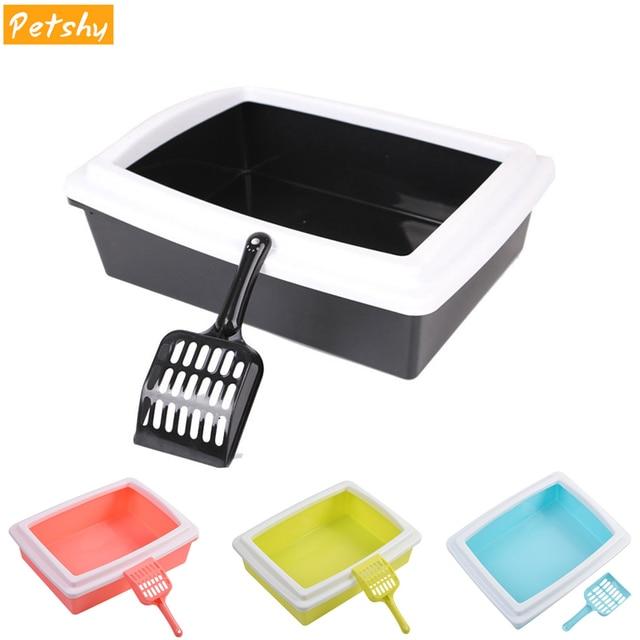 Petshy Cat Bedpans Semi Closed Anti-splash Cat Toilet Cat Litter Box Plastic Bedpan Case Pet Supplies Easy To Use