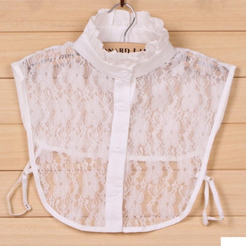 Women Pure Color Lace Detachable Lapel Choker Necklace Shirt Fake False Collar Lapel Blouse Women's Accessories