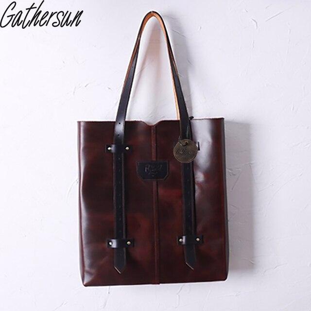 Gathersun Brand Original Desin Handmade Leather Shoulder Bag Women Full leather Retro Ladies Handbag without lining