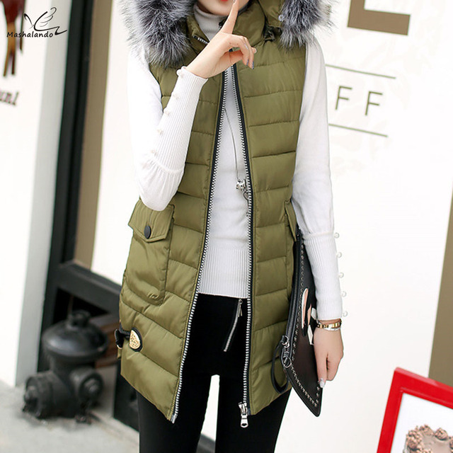 XL-5XL Plus Size Winter Coat Women 2016 Parkas Long Cotton Padded Slim Vest Hooded Fur Collar Sleeveless Jacket Solid 9 Colors