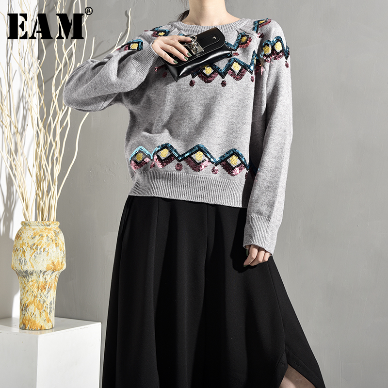 [EAM] 2019 New Spring Stand Collar hollow out black Long Sleeve Loose Irregular Knitting Sweater Women Fashion JH432