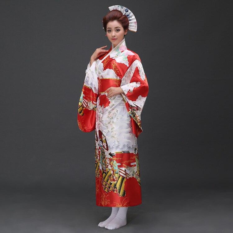 Perempuan Jepun Tradisional Pakaian Wanita Yukata Kostum Satin Kimono - Pakaian kebangsaan - Foto 5
