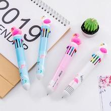 1pcs/lot Cool Flamingo Cartoon First Ten Color Ballpoint Pen Marker Stationery Office School Writing