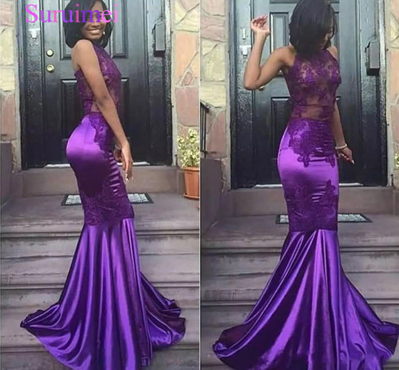 2019 New Lace Purple Halter Open Back Mermaid Mermaid Prom Dresses Cheap Sleeveless Sexy Appliques Dresses Evening Wear Arabic