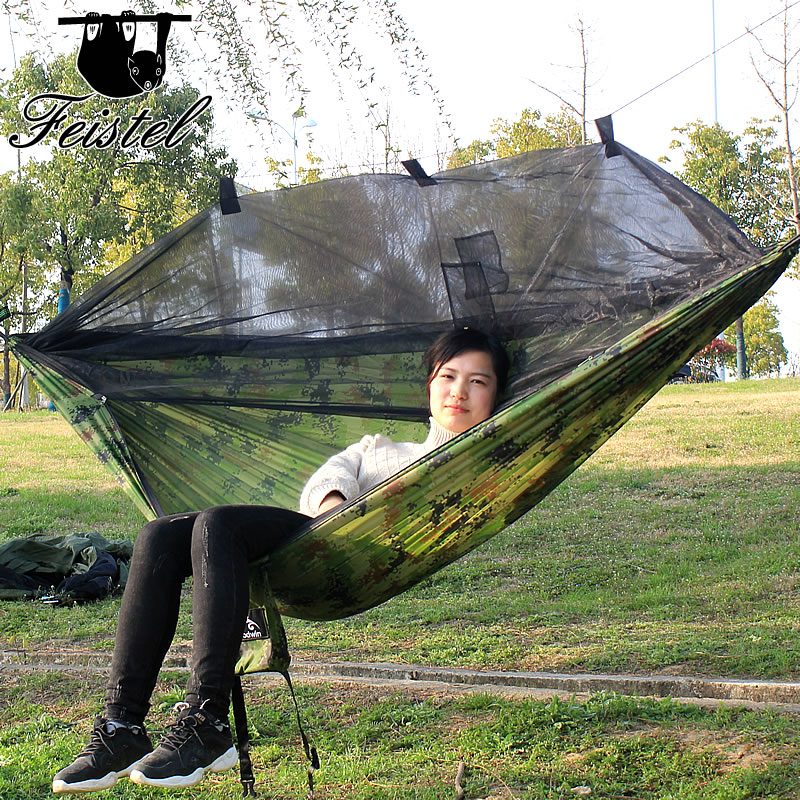 3.28 Promotion portable strength parachute fabric camping ligbed mosquito camping hammock