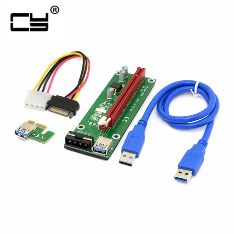 For BTC Miner Machine PCI-E extender PCI Express Riser Card 1x to 16x USB 3.0 SATA to 4Pin IDE Molex Power Supply raiser 60cm корпус in win emr002 450w black silver