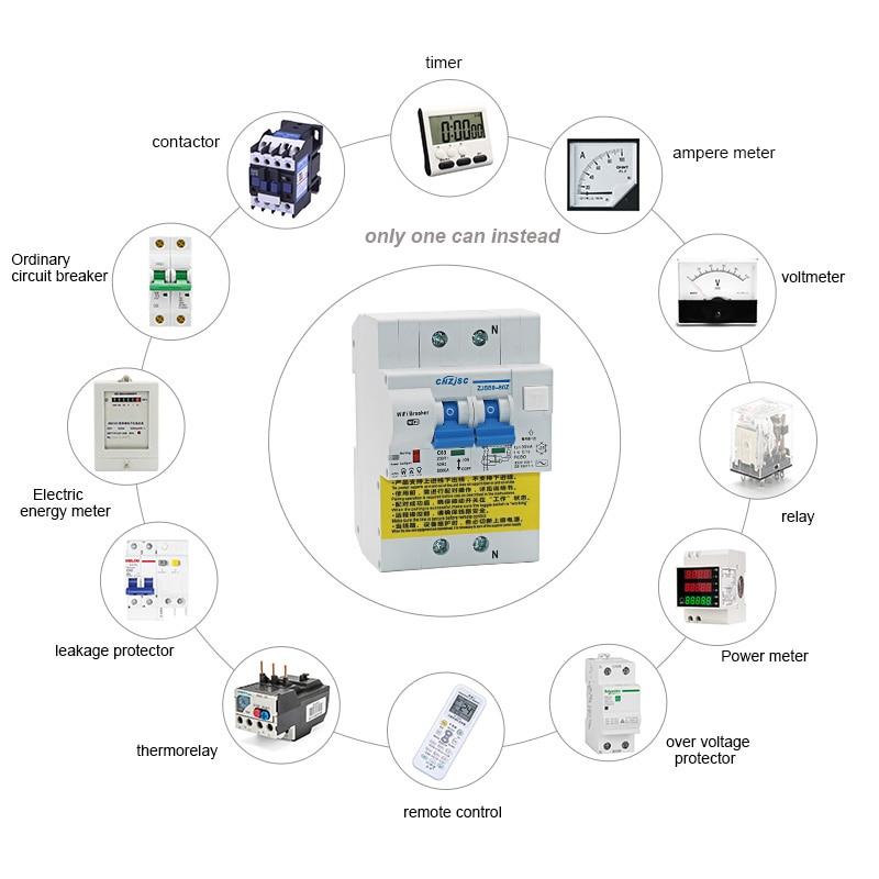 Disjoncteur intelligent de fuite de terre de RCBO de WIFI avec la surveillance d'énergie compatible avec Amazon Alexa, maison de Google pour la maison intelligente - 3