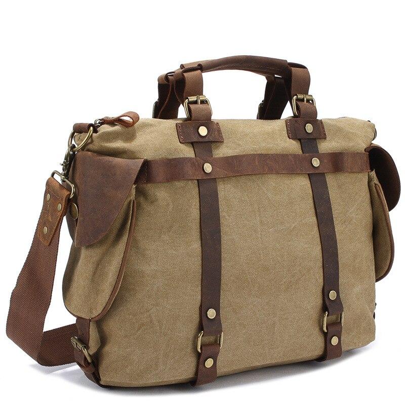 Vintage Military Canvas &Crazy House Leather Men Shoulder Bag Crossbody Bag Tote Handbag Canvas Messengera Bag Men Leisure male canvas tote bag