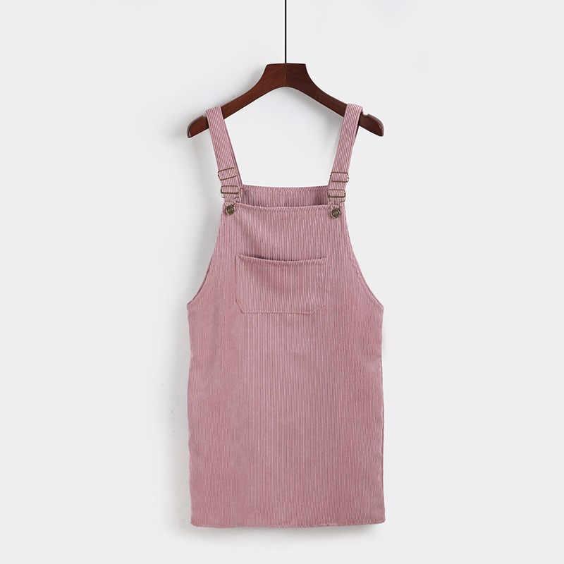 חדש 2020 סתיו חורף רטרו קורדרוי שמלה מזדמן ללא שרוולים סרפנים רופף אפוד כולל שמלות נשי בציר מסיבת שמלה