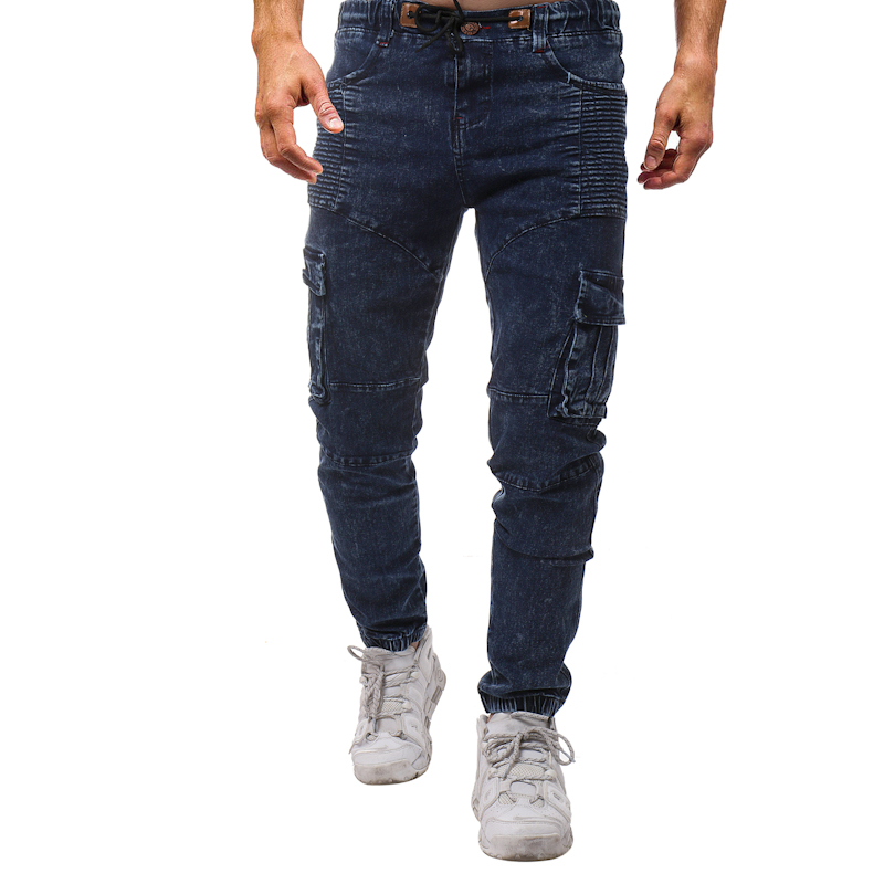 Men Fashion Elastic Wrinkle Side Pocket Cotton Pure Color Solid Jeans Autumn Winter Slim Motorcycle Windproof Jeans Feet Pants