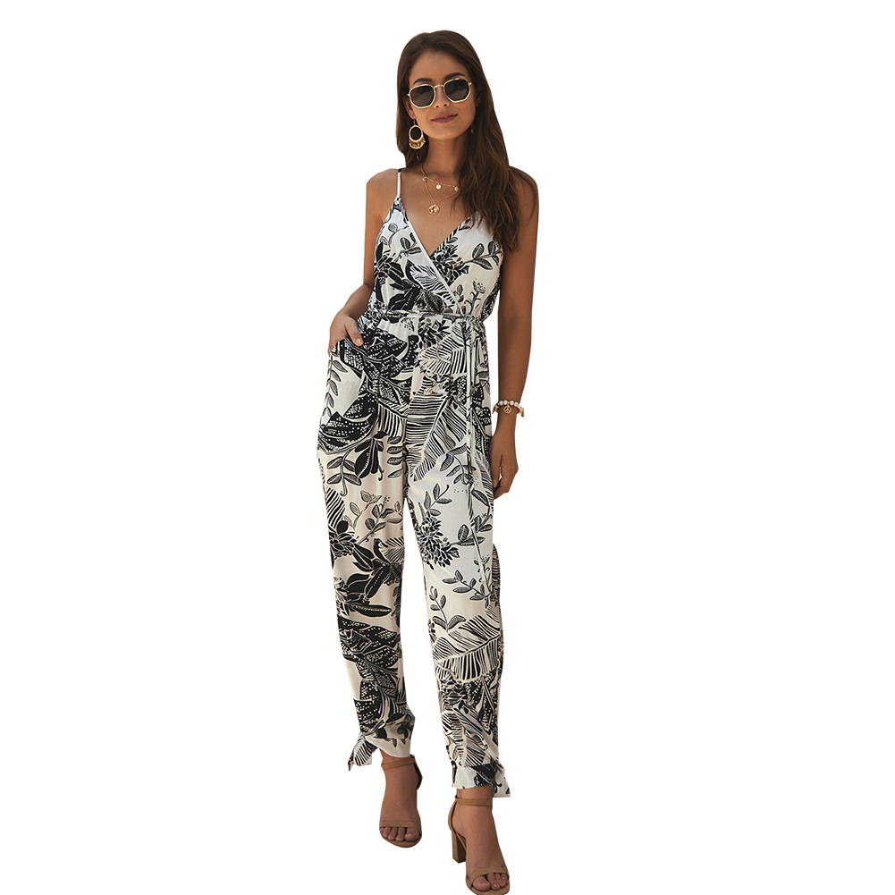 Floral Print Overalls Female Sexy Sling Jumpsuits Backless Drawstring Women Bodysuits Slim Summer Boho Playsuits Beach Rompers in Jumpsuits from Women 39 s Clothing