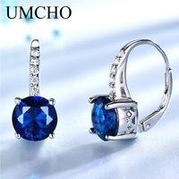 UMCHO создан драгоценный камень, синий сапфир клип серьги для Для женщин серебро 925 пробы для свадьбы, помолвки Fine Jewelry Новый