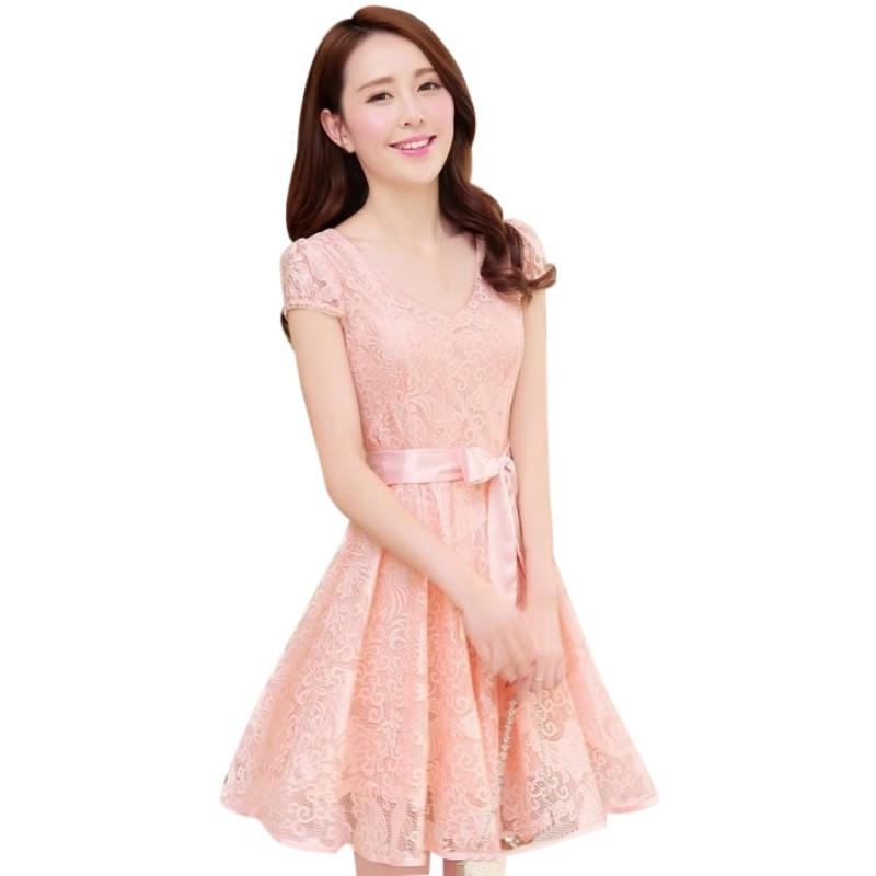 Fashion Korean Womens Girl Casual V Neck Collar Short Sleeve Floral Lace Dress Women Clothes 2017