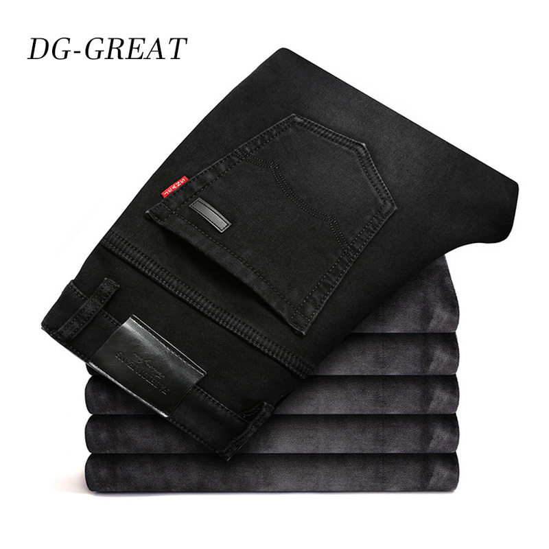 Fashion Winter   Jeans   Men 2019 Black Slim Fit Stretch Thick Velvet Pants Warm   Jeans   Man Casual Fleece Trousers Male Plus Size 42