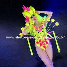 Ночной клуб люминесцентные Sexy Lady одежда танцевальная команда Производительность Костюмы Броня бальный костюм