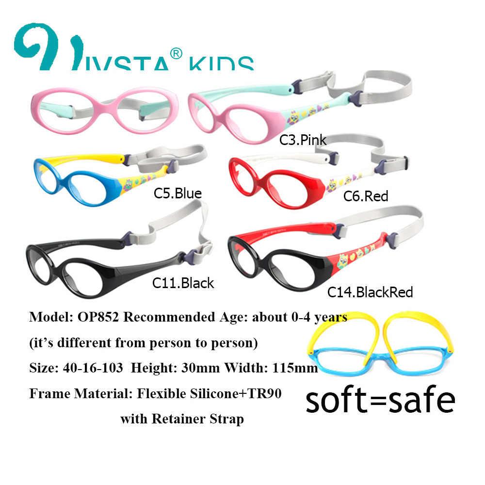 IVSTA com Alça 0-3 anos TR90 Bebê Pequeno Óculos para Crianças Óculos Armações De Óculos De Silicone para Crianças Óptica moldura Suave
