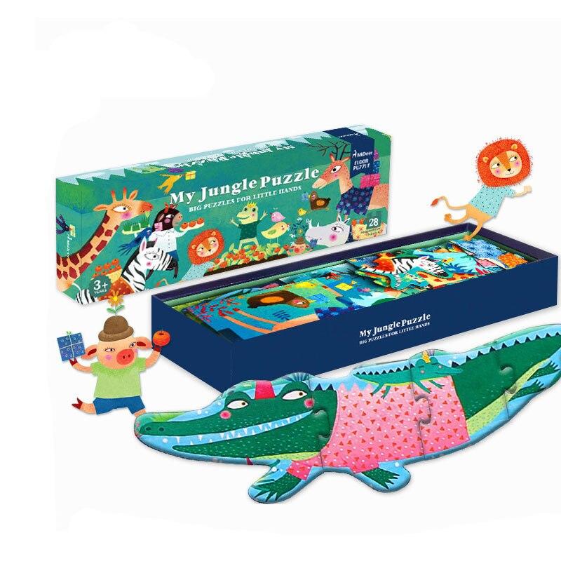 27 Pcs/ensemble Grand Puzzle En Bois Ma Jungle Puzzle Esthétique Puzzle Jeux pour Enfants Cadeau D'anniversaire Géant puzzle de sol